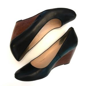 Cole Haan Black Leather Wedges   Size 7